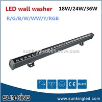 RGB DMX 24v 1000mm Bar Wall Washer 24W 36W Wallwash LED Outdoor Building Lighting