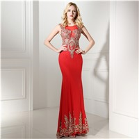 Elegant Long Red Custom Made Evening Dresses 0641