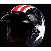 Open Face Motorcycle Motorbike Scooter Crash Helmet - US Star