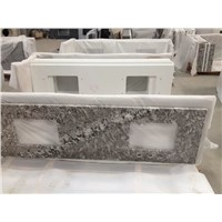 Double Undermount Sink Granite Prefab Bathroom Countertop