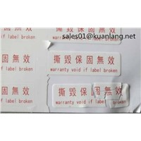 Non-Removable Label Security Label Anti-Counterfeit Label