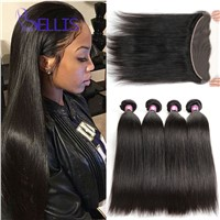 Brazilian Striaght Hair Lace Frontal Closure with Bundles Brazilian Virgin Hair Human Hair Weave Extensions