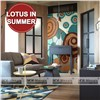 Lotus in Summer Hand Cutting Glass Tile Mosaic Mural Patterns