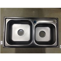 Custom Design above Counter Double Bowl Kitchen Washing Sink for Malaysia Market 7843A