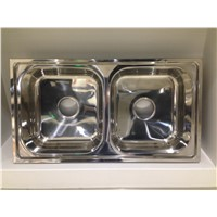 Silver Surface Simple Design Double Rectangular Bowl Kitchen Sink Factory Price 7843