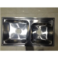 Usability & Durability Double Large Bowl Kitchen Sink for Dish & Vegetable Washing 7742