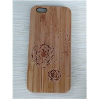Natural Bamboo Mobile Phone Case with Laser Carve Good Quality Wooden Phone Shell for iPhone