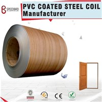 Wood Grain PVC Color Coated Steel Coil Cold Rolled Galvanized Processed into Security Door Leaves