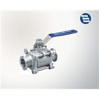 Sanitary Stainless Steel Non Retention 3 Pieces Ball Valve