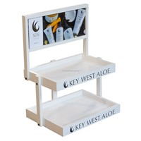 Advertising 2-Layer Wood Cosmetic Display Stands with Custom Signage