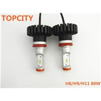 Topcity Factory Selling Directly X623 G6 Z-ES Chips 80W Car Head Light Bulbs H8 H9 H11 H16J Single Beam White Head Lamp