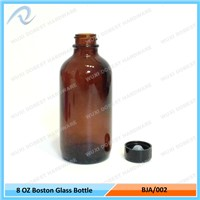 Wholesale 8oz Amber Cobalt Blue Green Boston Round Glass Bottles with Poly Cone Black Phenolic Cap