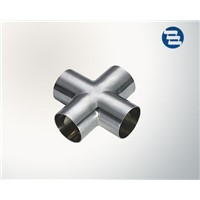 Sanitary Stainless Steel Pipe Fitting Welded Tri Clamp Four Way Cross