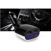 Dual USB Ports Car Charger with LED Screen, DC 5 V4.8 A Mobile Phone Car Charger
