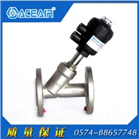 Pneumatically Actuated Flanged Angle Seat Valve with