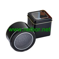 Black Color Square Metal Tin Watch Case Watch Display Box with Window & Foam