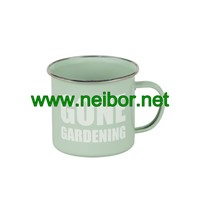 Custom Order Metal Enamel Garden Mug Stainless Steel Coffee Mug 350ml