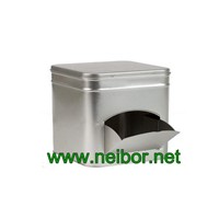 Vending Machine Design Square Shape Biscuit Tin Container with Side Opening Door