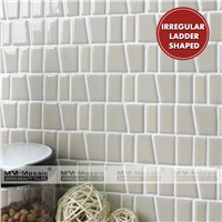 Home Building Material Cheap White Black Beige Trapezoid Ceramic Mosaic Wall Tile for Kitchen Bathroom Living Room