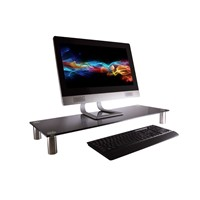 Large Multimedia Desktop Stand, Black Glass TV Screen Riser