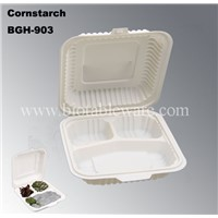 3 Compartments Disposable Biodegradable Cornstarch Fast Food Take Out Container