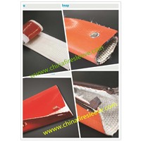 Silicone Coated Fiberglass Fire Sleeve with Velcro