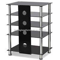 Black Glass & Aluminium Tube TV Media Entertainment Unit HiFi or TV Stand Table