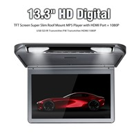Ultra-Thin Design 13.3 Inch Flip-Down HD Player with USB/SD(MP5), IR/FM Transmitter, HDMI