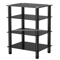 Black Glass Audio Video Shelving Floor Stand 4-Tier Media Component Stand Audio Cabinet with Glass Shelf AV0082