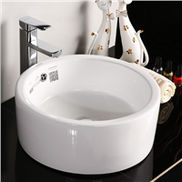 Round Countertop Ceramic Sink Bathroom Vessel Sink with Overflow