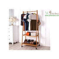 Movable Clothes Hat & Coat Bamboo Shelf Stand