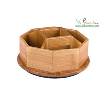 Rotating Home Desk Bamboo Wood Organizer