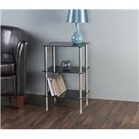 3 Tier Shelving Unit In Black Glass & Aluminium Leg