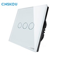 Cnskou EU Standard AC110V-250V 3Gang1Way Luxury Glass Panel Touch Wall Light Switch(SK-A803-01EU)