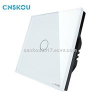 Cnskou EU Standard 220V-250V 1Gang1Way Luxury Glass Panel Touch Wall Light Switch