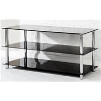 Black Glass 2 Shelves Chrome Plated Finish TV Stand