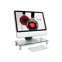 Computer Monitor Stand Desktop Riser, Clear Tempered Glass Brushed Aluminum Legs
