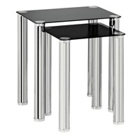 Nest of 2 Coffee Side End Tables - Black Glass