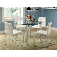 Clear /Black Round Glass & Chromed Dinning/ Coffee Tables