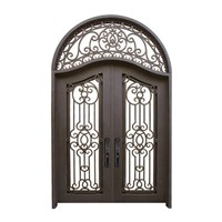 China Xiamen Cutomized Design Wrought Iron Glass Front Doors