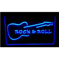 LS194-b Rock & Roll Guitar Music Neon Light Sign