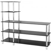 RTG L Shape 5 Tier Black Glass Shelf/TV Unit