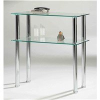 Clear Black Glass Chromed Side Table & Entertainment Stand