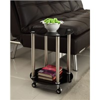 Black Glass 2 Tier Side End Table Chrome Finish with Wheels Stylish New Coffee