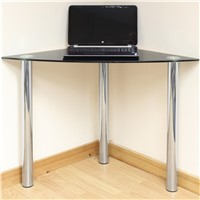 Black Glass Corner Computer/PC/Laptop Desk Home/Office/Study Table Chrome Legs