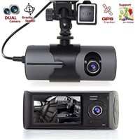 Dual Lens Dash Cam - COOKI FB300 2.7'' HD 1080P Car DVR Camera Video Recorder Dash Cam G-Sensor GPS Dual Len Camera