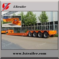 15m Steel 3 Axle Low Bed Semi Trailer with Hydraulic Ramp