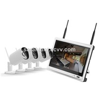 Wireless Home Security System 4CH WiFi IP Cameras NVR Kit, NVR with 11 Inch HD Screen