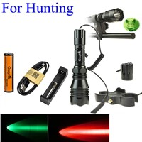 1000LM LED Tactical Flashlight Long Range Red Green White Hunting Light Lantern with 25mm Diameter