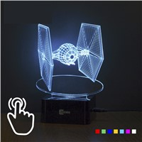 Star Wars Tie Fighter Lamp 3D Deco Vision Desk Lampara LED USB 7 Colors Changing Baby Sleeping Night Light